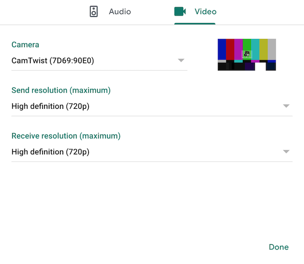 Screenshot of Google Meet video preferences, with the Camera set to 'CamTwist Studio' and the send and receive resolutions set to 'High definition (720p)'